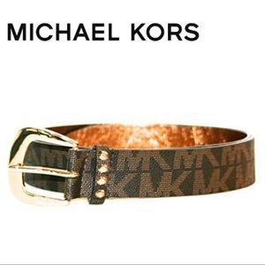 Michael Kors Brown Signature Logo Belt